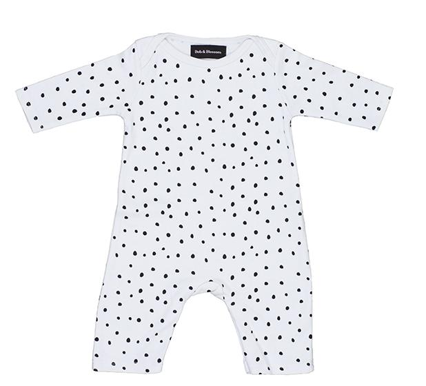 White and Black Spot Print All-in-One