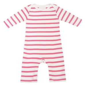 Coral Pink & White Breton Striped All-in-One