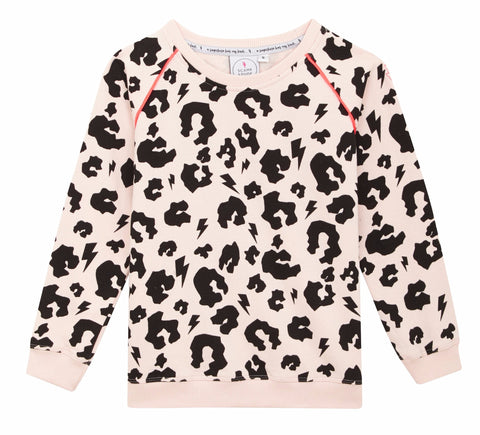 Super Soft Sweatshirt – Blush Leopard with neon piping