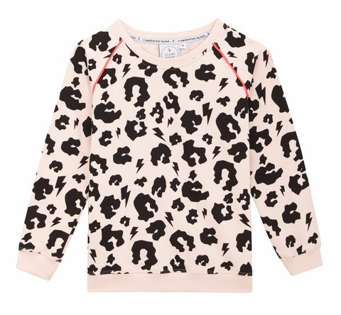 *PRE -ORDER*   Adult Super Soft Sweatshirt – Blush Leopard and Lightening Bolt with Neon piping