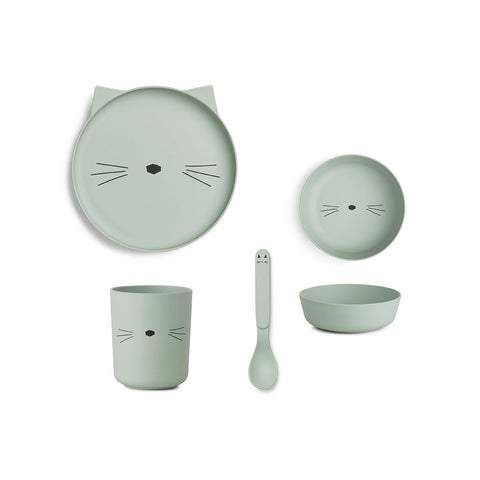 Bamboo Tableware Box Set - Cat dusty mint