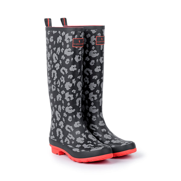 SUPERCHARGED ADULTS LEOPARD AND LIGHTNING BOLT PRINT WELLIES