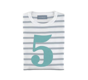 Grey & White Breton Striped Number 5 T Shirt (Turquoise)