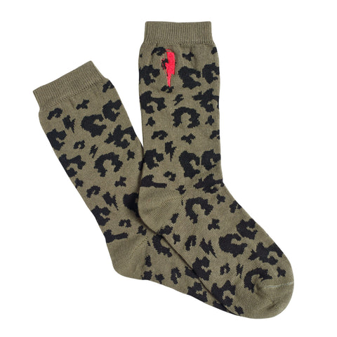 Kids Supercharged Socks Khaki Leopard and Lightning Bolt
