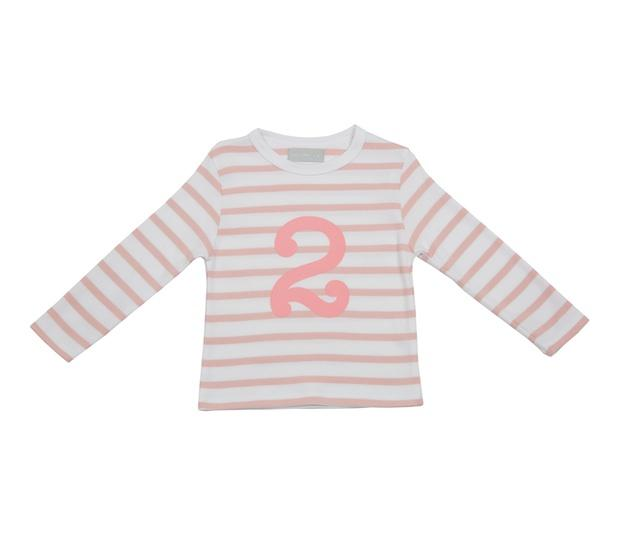 Dusty Pink & White Breton Striped T-Shirt -  Number 2