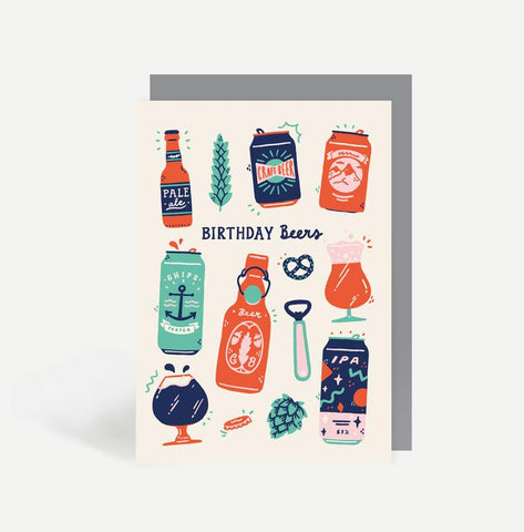 Birthday Beers Greetings Card