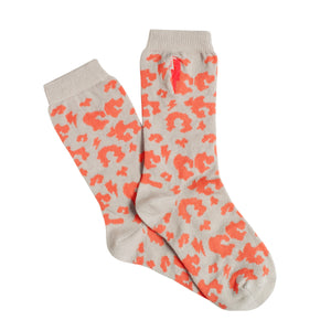 Kids Supercharged Socks Grey with Coral Leopard and Lightning Bolt