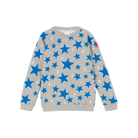 Scamp & Dude: Kids sweatshirt - grey with blue star and lightning bolt