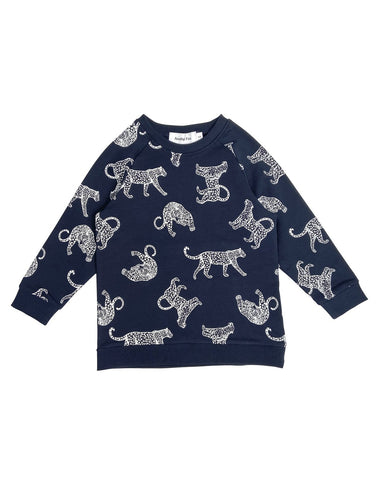 Navy & White Leopard Kids Sweatshirt