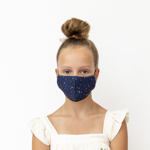 Child night sky print face mask-navy