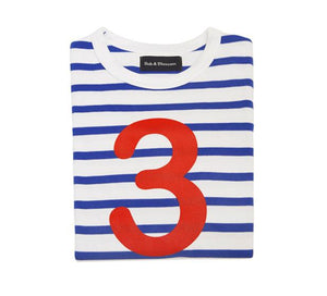 French Blue & White Breton Striped Number 3 T Shirt