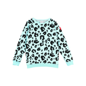 Scamp & Dude: Kids super soft sweatshirt - pale aqua with leopard and lightning bolt print