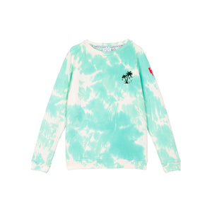 Kids Super Soft Sweatshirt - Aqua and white tie dye