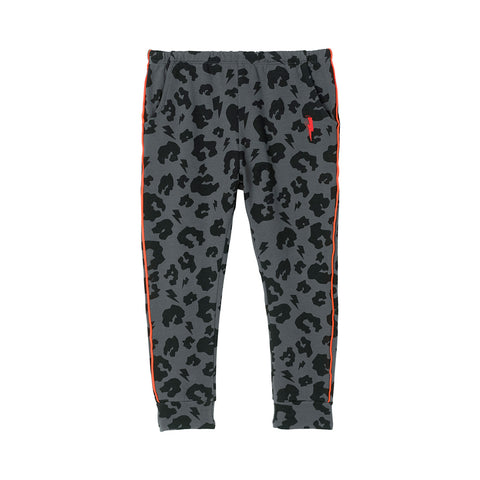 Kids Joggers Grey Leopard and Lightning Bolt