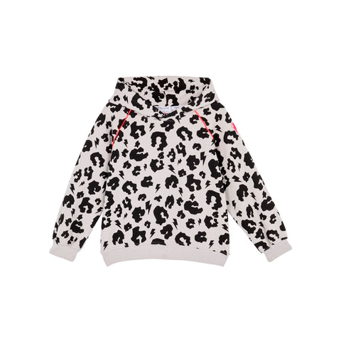 Kids Hoodie Pale Grey Leopard and Lightning Bolt