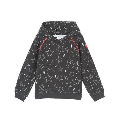 Scamp & Dude: Kids hoodie - dark grey with white star and lightning bolt