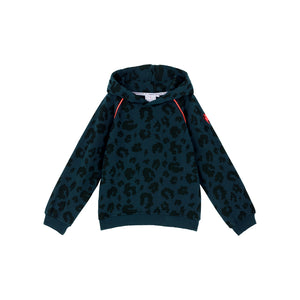 Scamp & Dude: Kids hoodie - navy with black leopard and lightning bolt print.