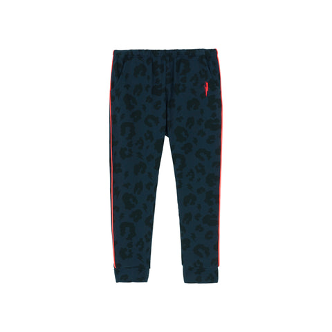 Scamp & Dude: Kids joggers - navy and black leopard & lighting bolt