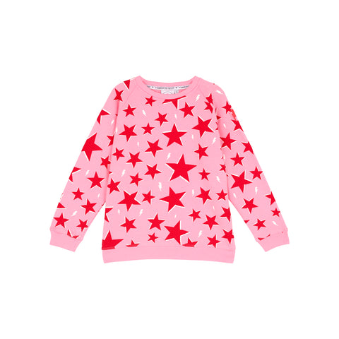 Kids super soft sweatshirt pink with red star and lightning bolt