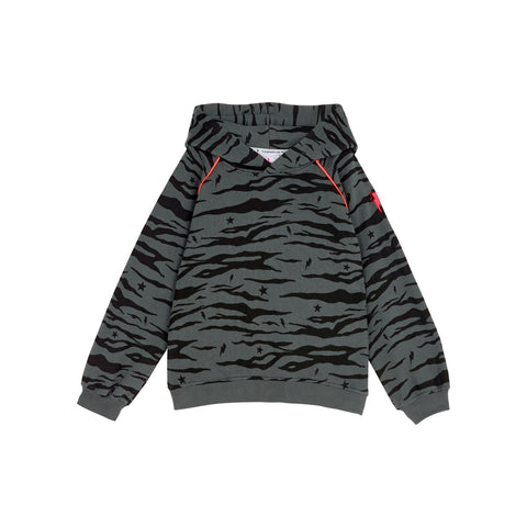 Scamp & Dude: Kids hoodie - dark grey tiger with star and lightning bolt