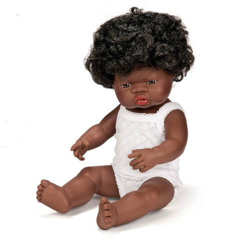Miniland baby doll African girl 38cm