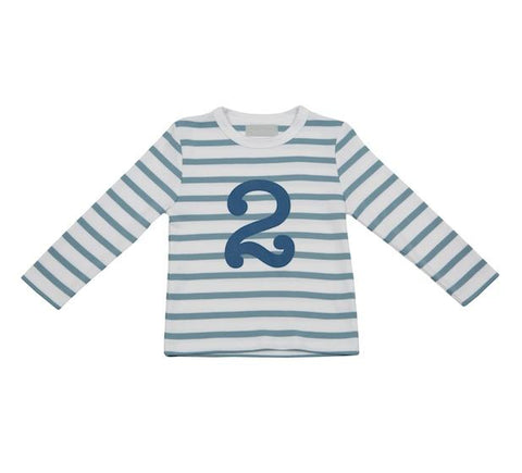 Ocean blue & white breton striped T shirt - 2