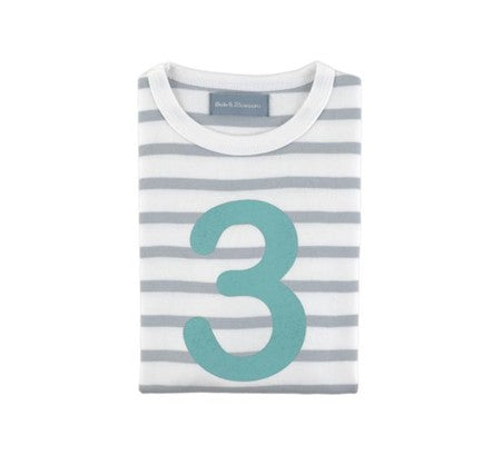 Grey & white breton striped number 3 t shirt (turquoise)