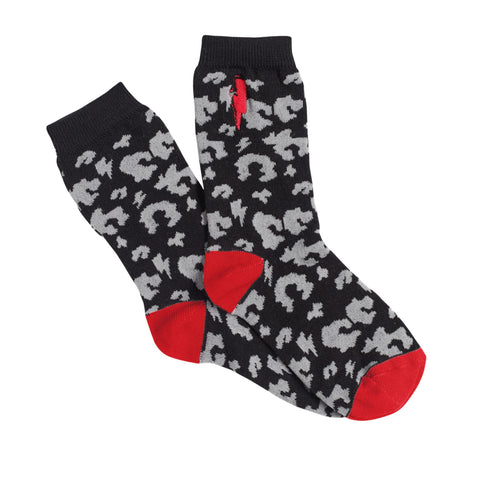 Kids Supercharged Socks Black With Grey Leopard and Lightning Bolt