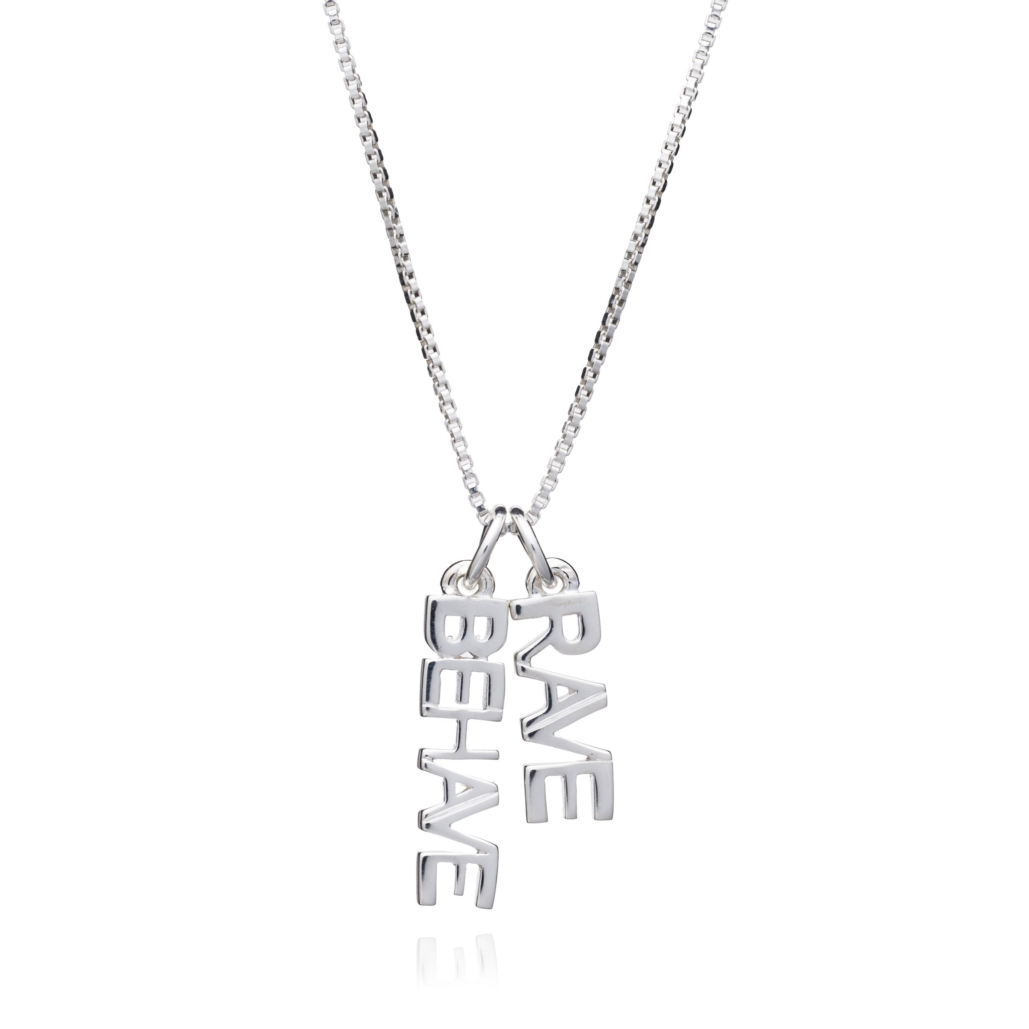 """Rave / Behave"" Charm Necklace - Silver"