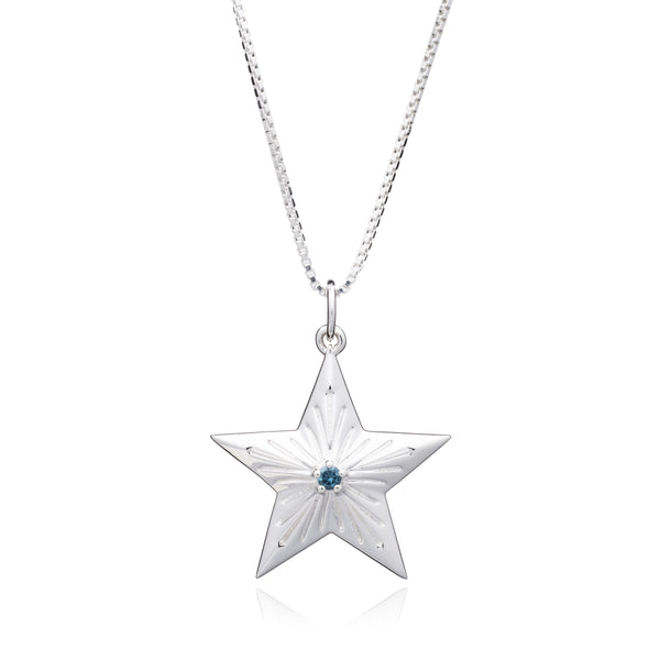 Blue Topaz Statement Lucky Star Necklace - Silver