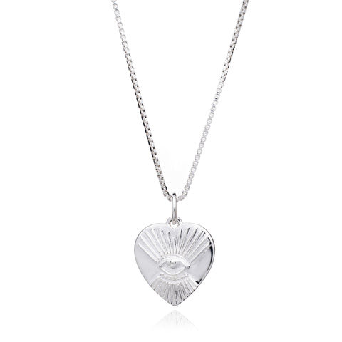 """Protective"" Tattoo Heart Necklace - Silver"