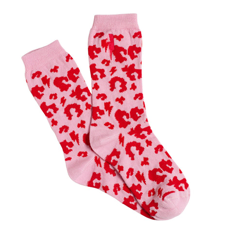 Adult Supercharged Socks Pink with Red Leopard and Lightning Bolt