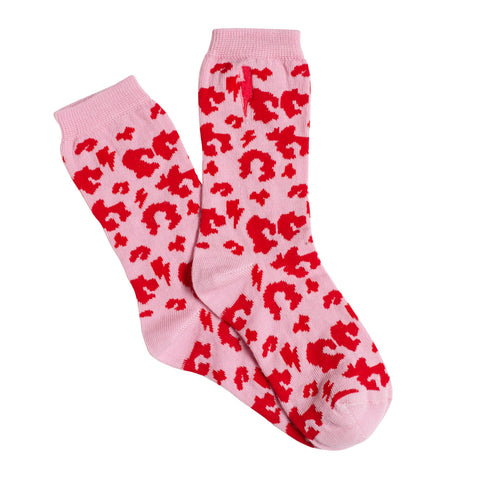 Kids Supercharged Socks Pink with Red Leopard and Lightning Bolt