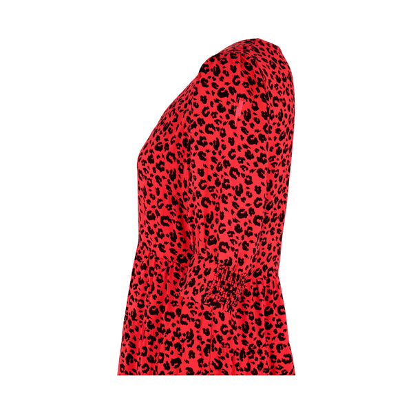 Scamp & Dude: Adults v neck tiered maxi dress - red and black leopard and lightning bolt