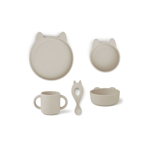 Vivi Silicone Tableware Gift Set - Rabbit sandy