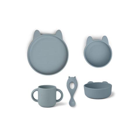 Vivi Silicone Tableware Gift Set - Rabbit sea blue