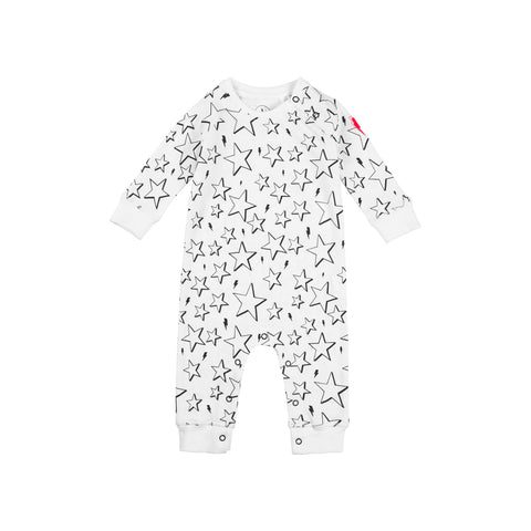 Baby romper - White & Black star