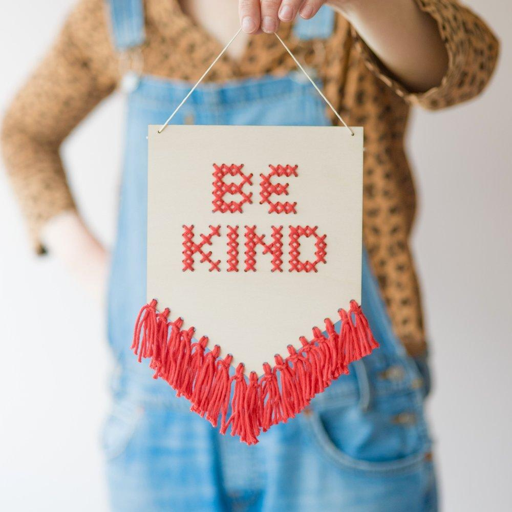 Be Kind Tasseled Embroidery Kit