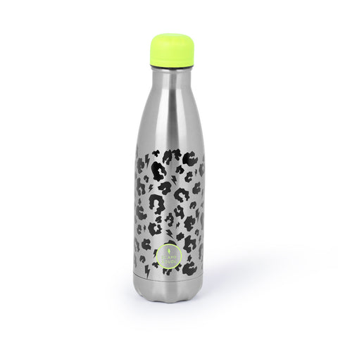 SUPERCHARGED WATER BOTTLE SILVER WITH BLACK LEOPARD AND LIGHTNING BOLT PRINT