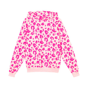 Adult Super Soft Hoodie - Pink with Neon pink Leopard and Lightning Bolt
