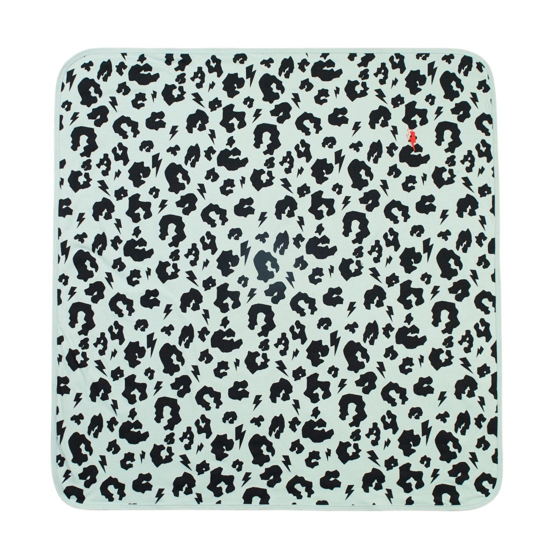 SUPER SOFT LEOPARD AND LIGHTNING BOLT BABY BLANKET- pale  green