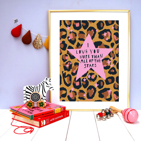 Leopard Love You Stars Pink Print - A4