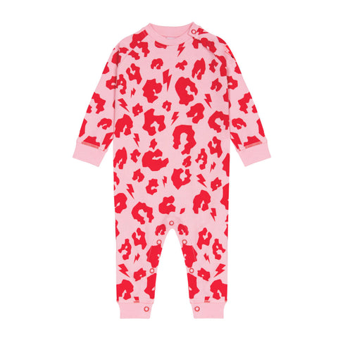 Baby Romper – Pink with Red Leopard and Lightning bolt print