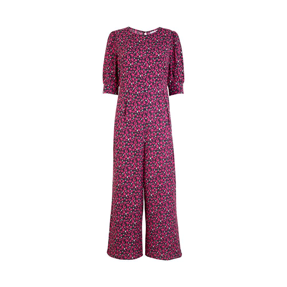 Scamp & Dude: Adult jumpsuit - grey with pink leopard and white lightning bolts