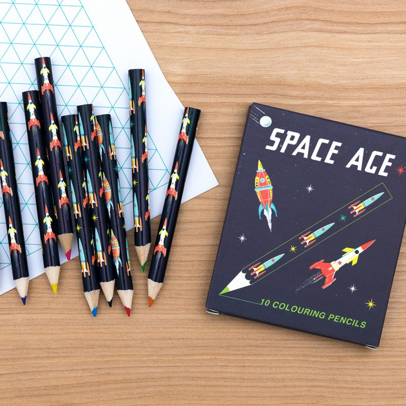 Space age colouring pencils (set of 10)