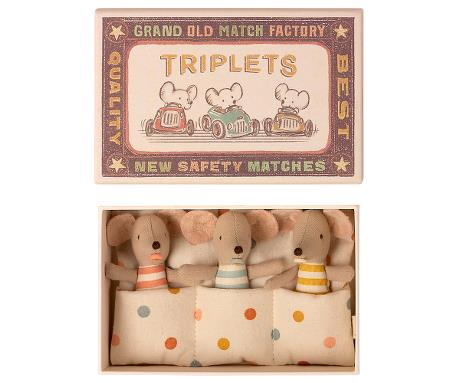 Maileg: Baby mice, Triplets in matchbox