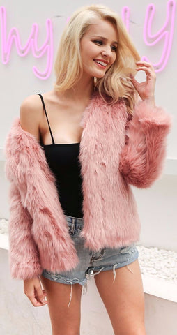 Alexis Solid Faux Fur Coat
