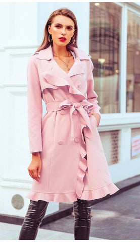 Sara Ruffled Trench Coat