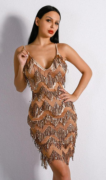 Carmen Sequin Tassel Dress
