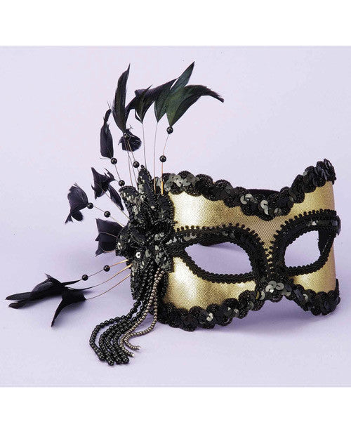 Karneval Half Mask w/Feathers & Beads - Black/Gold